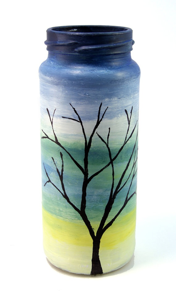Painted Glass Jar  Green and Blue Painted Glass  by PossumTree, $12.00