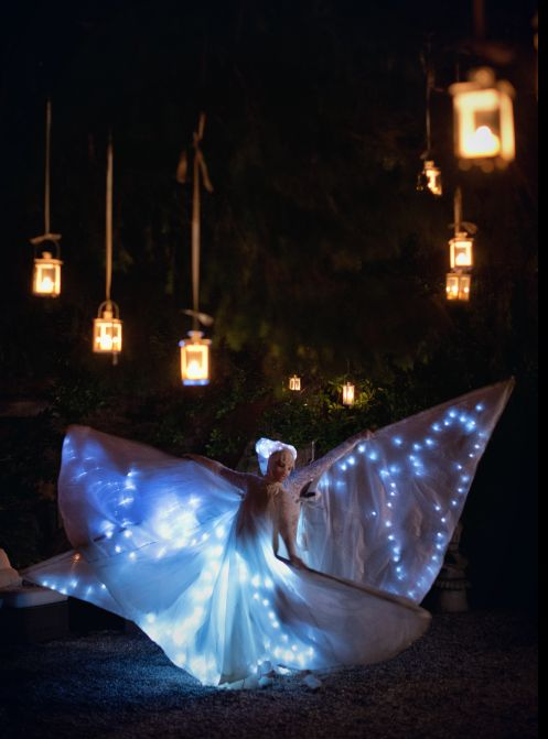 Dancing in the dark garden... candles and lamps decorations