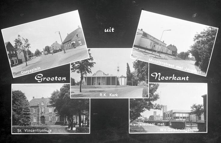 Collage van vijf foto's waarop: 1. Het Dorpsplein; 2. De R.K. Kerk; 3. De Moostenstraat met Jeugdhof; 4. Het St. Vincentiushuis; 5. De Kleuterschool met het Wit-Gelekruisgebouw. Jos Pé (fotograaf) - 1971