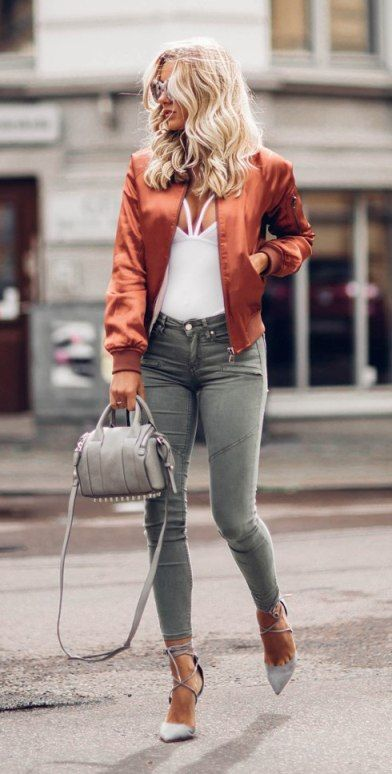 Stylish copper bomber jacket fall street style