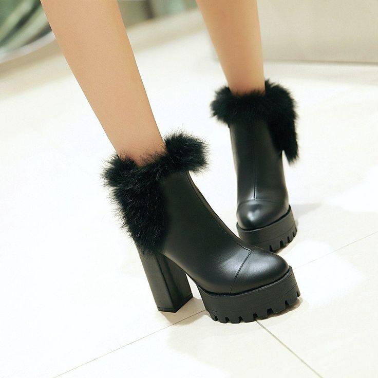 Rabbit Fur Ankle Boots High Heels Women Shoes Fall|Winter 7502