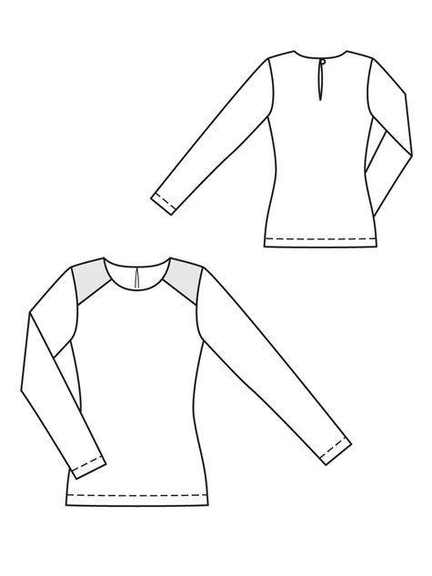 Yay for long sleeves! Pattern:BurdaStyle #123 09/2012 This top is surprisingly striking! This top is made from comfortable and easy to wear jersey, and features shoulder yokes in a contrast fabric…