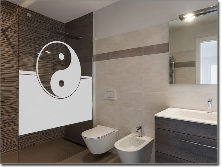 Superb Fensterfolie f r Badezimmer Yin u Yang