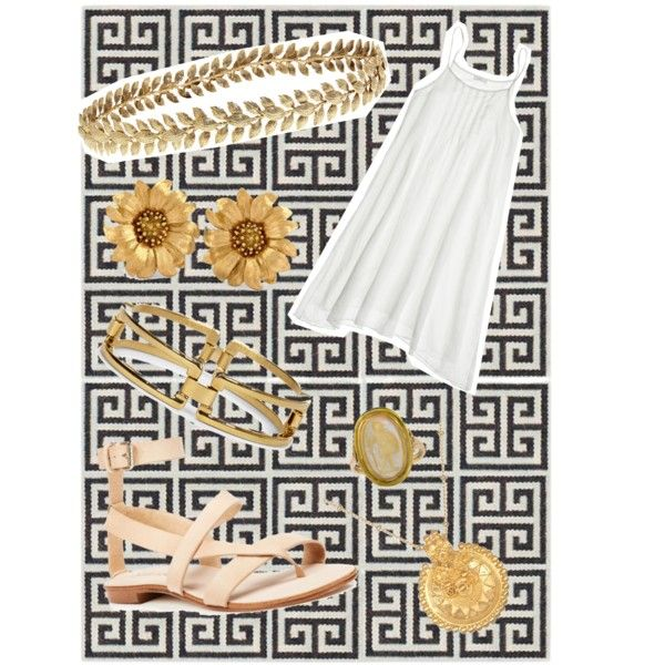 Greek princess by israa-kindy on Polyvore featuring polyvore, fashion, style, CP Shades, Splendid, Satya Jewelry, Sole Society, Ellen Hunter and Jonathan Adler