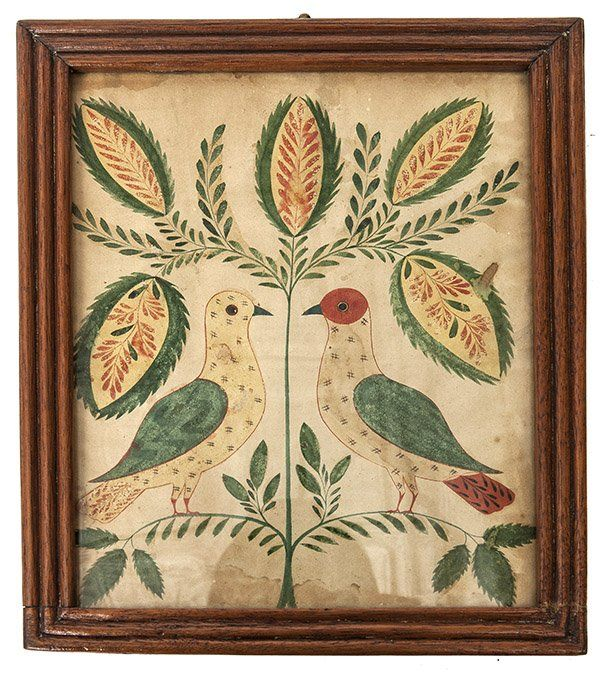 Pennsylvania Folk Art Watercolor, Early 19th century