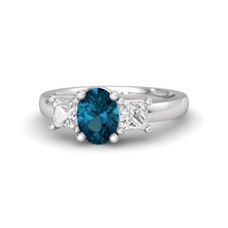 Oval London Blue Topaz Sterling Silver Ring with White Sapphire | Giselle Ring (8mm gem) | Gemvara