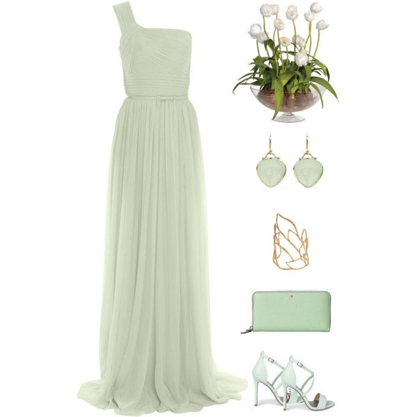 Minty Elegance by dezaval on Polyvore featuring Elie Saab, Boohoo, Kate Spade, Elizabeth Showers and Alexis Bittar