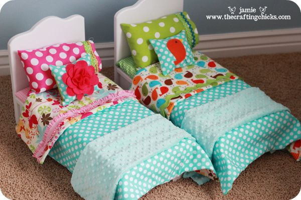 Twin Doll beds. Love the bedding she made, so cute