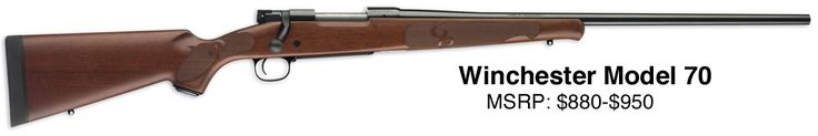 Winchester 70    The bolt-action rifle has got to be the best choice for hunting in big open areas. Nothing can compare to the accuracy that can be achieved—assuming you do your part that is.  Really I could have put the Remington 700 here or the Ruger M77 or a half dozen other bolt guns, however, there is one thing I do like about the Winchester Model 70 over some of the others in a hunting rifle - it uses a controlled feed.