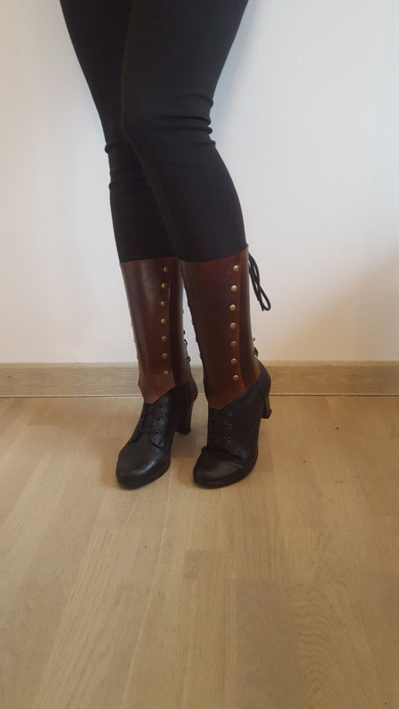 Simple Brown Leather Greaves Gaiters Men's Women's Unisex by CrusaderArmoury