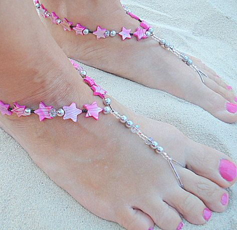 Barefoot sandals stretch pink stars anklet foot jewelry foot thong beachy tropical jewelry. $25.00, http://www.PoconoPrincessJewels.etsy.com