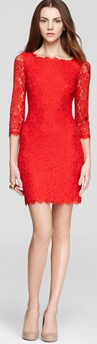 Dvf Red Dress DIANE von FURSTENBERG Lace