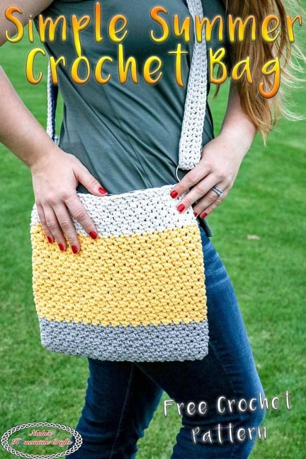 Simple Summer Crochet Bag With Fabric Lining Free Crochet Pattern In 2020 Crochet Bag Pattern Free Crochet Bag Pattern Crochet Shell Stitch