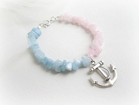 Anchor charm bracelet rose and aqua blue by MalinaCapricciosa, $12.50