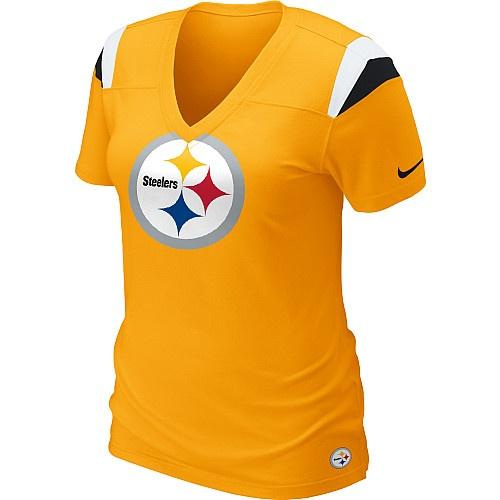 Nike Pittsburgh Steelers Women's Fashion V-Neck Heather T-Shirt -  NFLShop.com