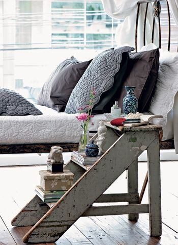 5. Step ladder as bedside table.