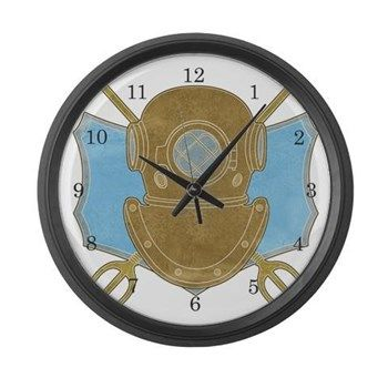 Retro Diving Helmet Large Wall Clock from cafepress store: AGPaintedBrushT-Shirts. #clock #retro #vintage