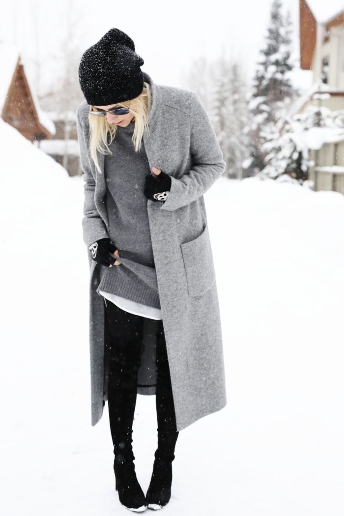 30 Ways to Look Stylish in the Dead of Winter - grey sweater + grey coat