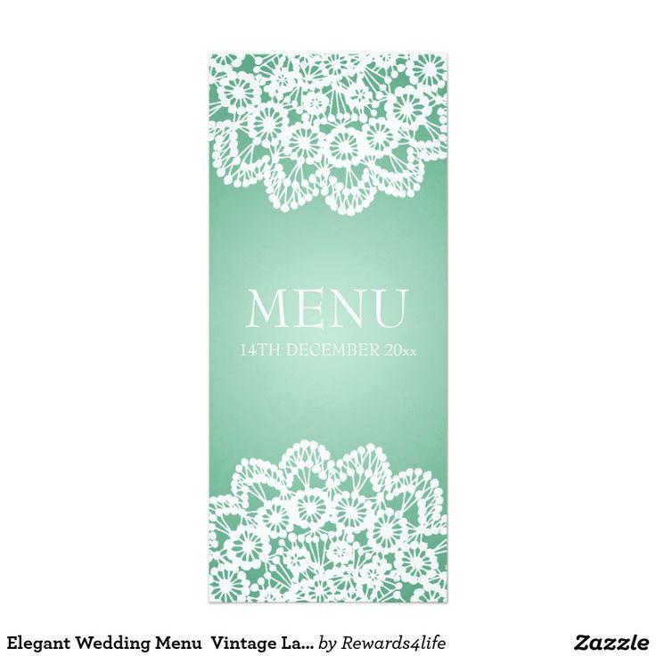 Elegant Wedding Menu  Vintage Lace Mint Green