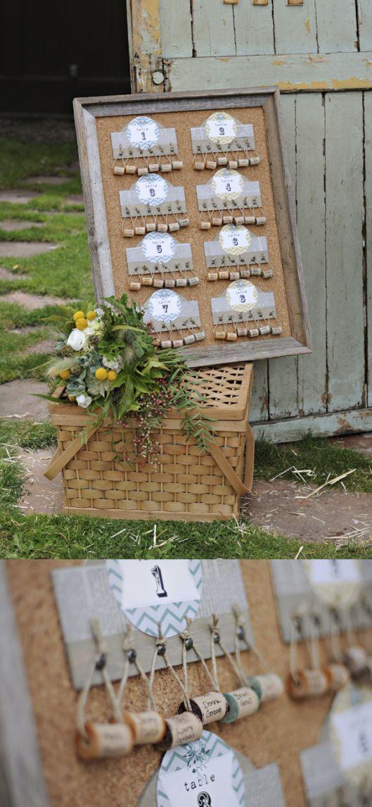 Une présentation de plan de table réalisé à partie de bouchons de liège. #DIY #wedding #mariage