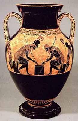 Questo vaso rappresenta Achille e Aiace che giocano a dadi. L'autore fu probabilmente Exechias. Risale al 550-525 a.C.  E' un'anfora dipinta a figure nere. Attualmente è conservata al Museo Etrusco-Gregoriano, in Città del Vaticano.