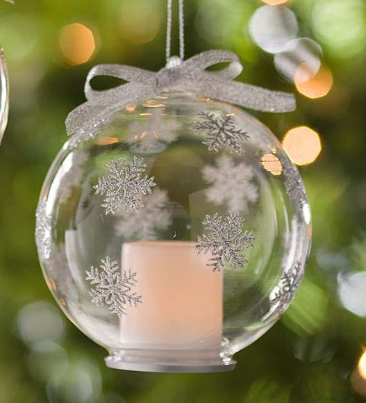 Snowflake Glass Ornaments with Votive, Set of 2 | Indoor Holiday Decorations