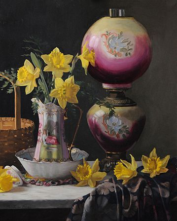 Christopher Pierce, Victorian Lamp with Daffodils, 2013, oil on canvas, 30 X 24 inches
