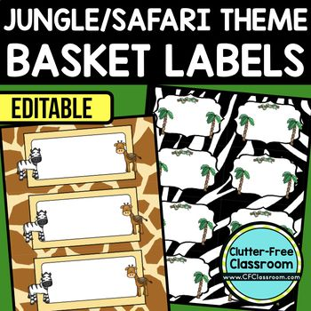 JUNGLE OR SAFARI THEME Editable Labels by CLUTTER FREE CLASSROOM - These organizational labels have many uses in the classroom or home school. They can be classroom library labels, name tags for cubbies or desks, supply labels, used for organizing centers, and much more. Grab these cute printables today for your preschool, Kindergarten, 1st, 2nd, 3rd, 4th, 5th, or 6th grade classroom or home school.  And make sure to check out the links for some FREE downloads to help make your space look…