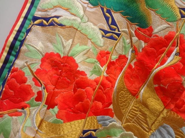 [ アンティーク着物 ] - 振袖 アンティーク 屏風に松竹梅・鶴模様刺繍十二単花嫁衣装色打掛 着物、アンティーク着物、リサイクル着物のシンエイ