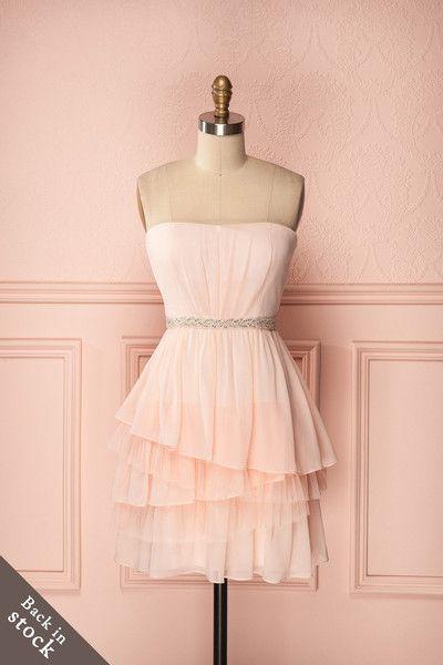 Calista Blush - Light pink veil bustier dress with clear zircon waistline