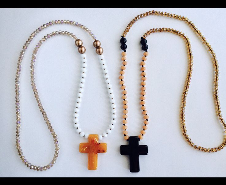 Cross necklace women crystal necklace hand knotted necklace