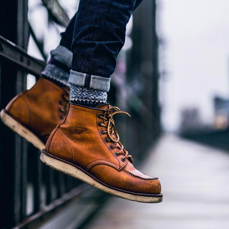 Awesome Redwing Moc Toe boots photo from @sel.vage boots - @redwingheritage 875 moc toe socks - @chupsocks x @3sixteen denim - @3sixteen st - 100x pic by @themoldernway #boots #redwingheritage #redwing #rugged