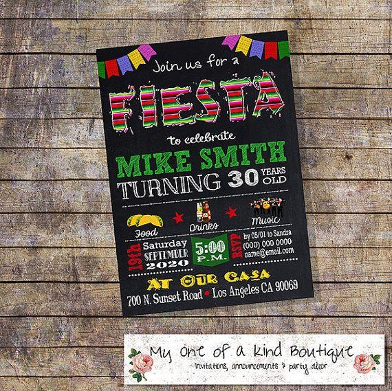 Fiesta birthday party invitation mexican fiesta by myooakboutique