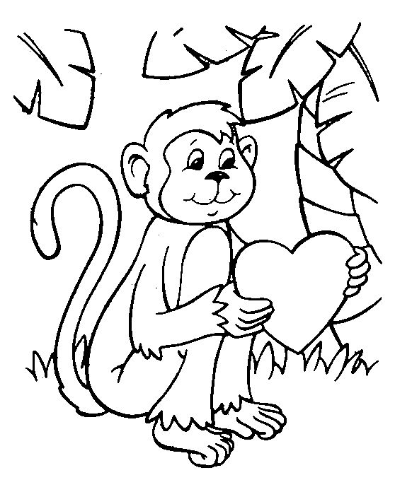 coloring page valentine monkey