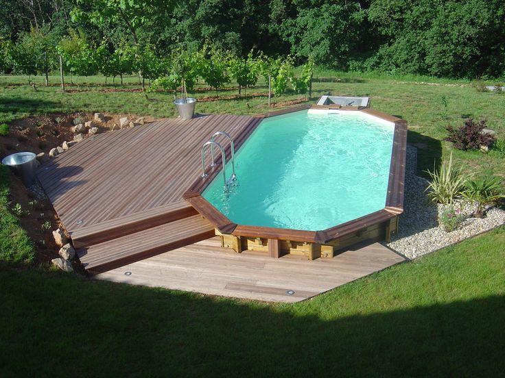 Piscine bois octogonale, acheter une piscine avec structure en bois