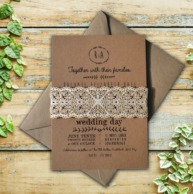 wedding invitation diy kits uk%0A Rustic Wedding Invitation  Rustic Wedding Invite  Laser cut invitation   Belly band  Boho