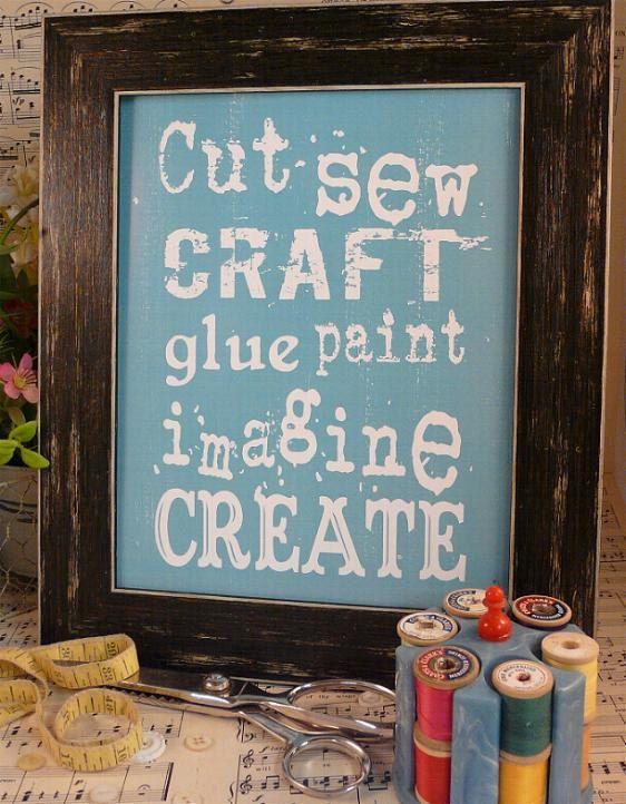 Cut Sew Craft Glue Paint Imagine Create sign digital PDF  - blue inspiration art words vintage style primitive 8 x 10 frame saying via Etsy