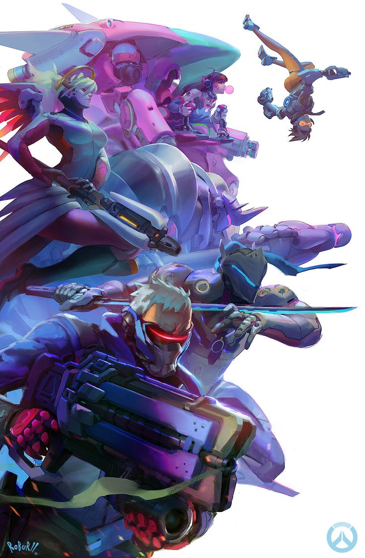 O artista canadense Robert Kim criou uma concept art com os personagens de Overwatch prestes a entrar numa briga. Genji, Mercy, Tracer, D.Va, Mei, Zarya, Reaper, Widowmaker e Roadhog fazem parte da obr