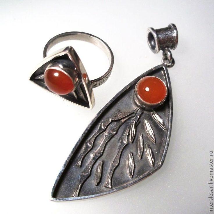 """116$ Комплект кулон и кольцо с сердоликом """"Тропики"""" - серебро, серебряный, кольцо с камнем, кулон с камнем"""