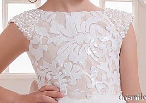 2016 branco / marfim princesa Lace Cap Sleeve Flower Girl vestidos para o aniversário festa de casamento primeira comunhão vestido de tule vestido de baile