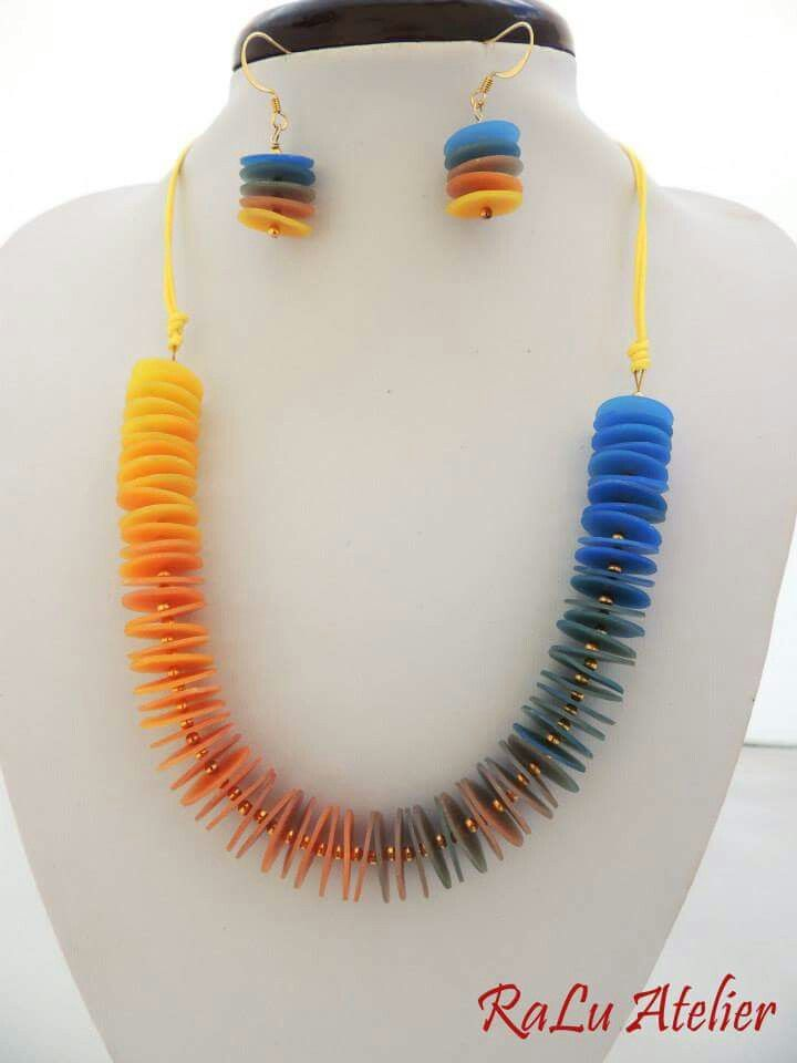 Polymer clay necklace and earrings on cotton string