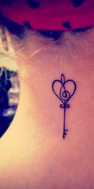 - music is they key- small tattoo