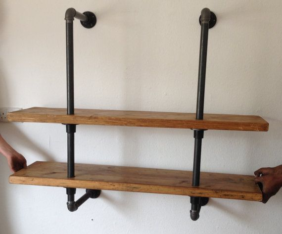 Vintage Industrial Reclaimed Gas Pipe Shelving Unit By