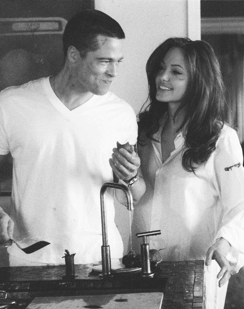 Angelina Jolie & Brad Pitt during filming of Mr and Mrs Smith where they met and fell in love...