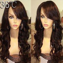 Brésilienne Remy pleine perruque de dentelle avec une frange entière naturel vague de corps Full Lace cheveux perruque avec une frange secondaires sans colle Lace Front perruque(China (Mainland))