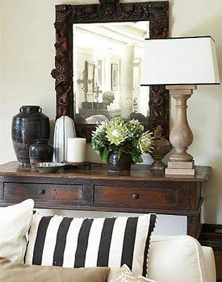rustic neutrals: Idea, Decor Tips, Entry Tables, Living Rooms, Color, Consoles Tables, Black And White, Vignette, Stripes Pillows