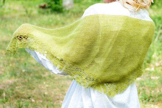 Light and airy, almost weightless green shawl, made of very soft mohair yarn! This accessory is good for a summer evening and a spring day. You can also wear it as a triangular scarf in the style of a Boho. When you dress this shawl there is a feeling of warmth and softness, very