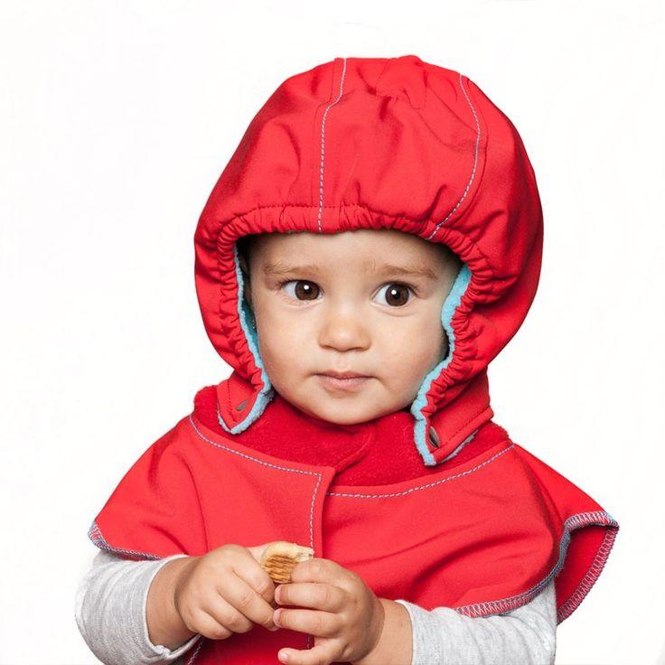 Baby Hood & Neck Warmer - Red-turquoise  #liliputistlye #babyhood #babywearingcoat