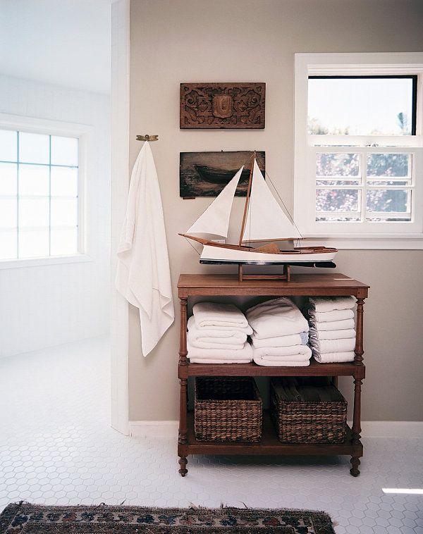 Nautical bathroom--white honeycomb tile floor