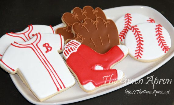 12 Red Sox Baseball Themed  Decorated Sugar Cookies on Etsy, $24.00